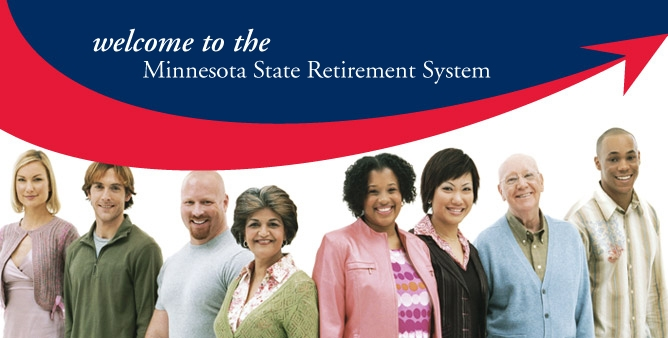 minnrs Login Image: Blue and red banner with eight smiling people: Text: Welcome to the Minnesota State Retirement System.